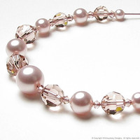 Blush Rose Swarovski Pearl and Crystal by whimsydaisydesigns