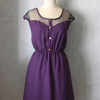 PETIT DEJEUNER in AUBERGINE - Eggplant Purple Vintage Inspired Chiffon Dress // bridesmaid dress // cocktail // holiday // day dress // plum