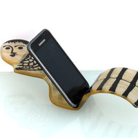 fused glass mobile phone stand - Figure Sculpture art
