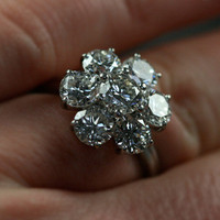 Large Vintage Diamond Daisy Cluster Engagement Ring by Antique | Ruby Gray&#x27;s