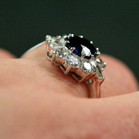 Sapphire & Diamond Vintage Cluster Engagement Ring by Ruby Gray's | Ruby Gray's