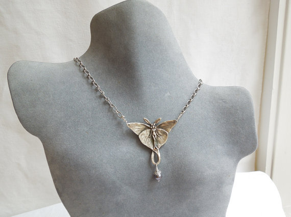Sterling Silver Luna Moth Fairy Necklace with Gray by seemomster