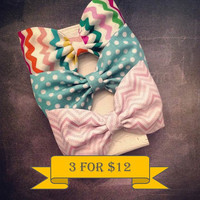 Chevron polkadot fabric hair bows turquoise rainbow pink