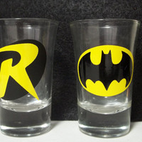 Batman and Robin Shot Glasses by TheCraftyGeek86 on Etsy
