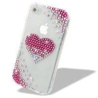 NOVA CASE® Chic Series 3D Bling Crystal iPhone Case for AT&T Verizon T-Mobile Sprint Apple iPhone 4/4S - Pink Faded heart