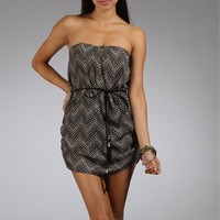 Black/White Tribal Printed Strapless Dresses