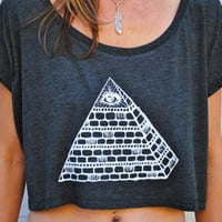 The ILLUMINATI Inspired Crop Top - Tribal Bohemian - Almost Black