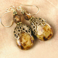 Caramel Chocolate Brown Earrings Brown Beige Czech Glass Earrings Golden Cappuccino Brown Drop Earrings