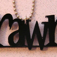 TEXT mini Rawr Acrylic Necklace by everlastingdoodle on Etsy