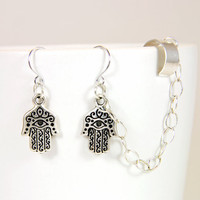 Silver Hamsa Chain Ear Cuff Earrings by Atelier by AtelierYumi