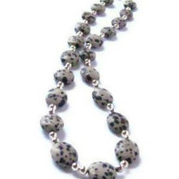 Polka Dot Spotted Black, Brown and Grey Dalmatian Jasper Stone Beaded Necklace with Silver Accents