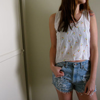 White Floral Print Eyelet Crop Top High Low Hi Lo Cropped Tunic Tank See Through Summer