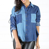 KT4484 Patchwork Criss Cross Denim Shirtand Shop Apparel at MakeMeChic.com