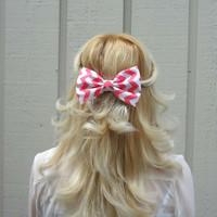 Pink and white chevron bow hair clip  big by VintageBowBoutique