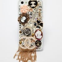 Newsh Super Luxury 3D Retro Style Handmade Swarovski Crystal CC Chain Back Case Cover for Iphone 5