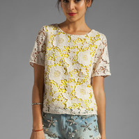 By Malene Birger Modish Life Voleria Top in Neon Yellow with Cream Lace from REVOLVEclothing.com