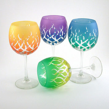 Painted Wine Glasses  Strands   Set of 4  Custom by woodeyeglass