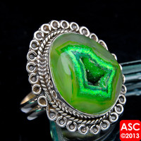 GREEN GEODE SLICE 925 STERLING SILVER RING SIZE 8 1/2 JEWELRY
