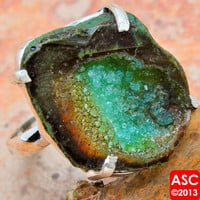 GREEN GEODE SLICE 925 STERLING SILVER RING SIZE 10 JEWELRY