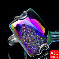 TITANIUM DRUZY 925 STERLING SILVER RING SIZE 9 JEWELRY