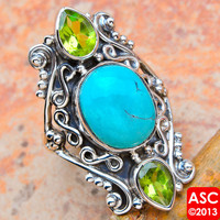 TURQUOISE, PERIDOT 925 STERLING SILVER SIGNATURE RING SIZE 7 1/4 JEWELRY