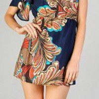 Navy Blue Peacock One Shoulder Dress