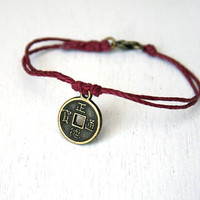 $8.00 Lucky Chinese Coin Bracelet 28 colors by greenduckweed on Etsy