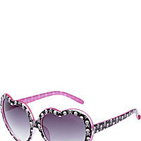 BetseyJohnson.com - HEART FRAME WITH SKULLS BLACK-PINK