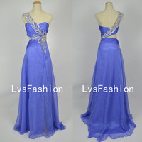 One Shoulder Sweetheart with Beading Chiffon Long Light Purple Prom Dress Evening Gown