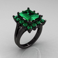 Modern Victorian 14K Black Gold 4.0 CT Emerald Designer Engagement Ring R217-14KBGEM