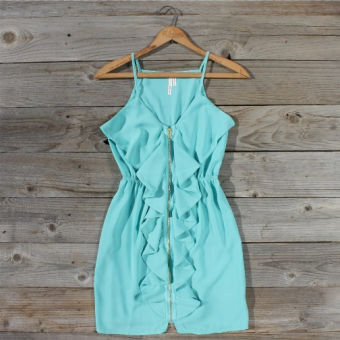 Mint Ruffle Dress, Sweet Women's Country Clothing