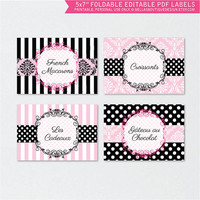 First Class Passport to Paris, Printable, Editable PDF Labels, Party Decor, pink, black, damask, polkadots, stripes