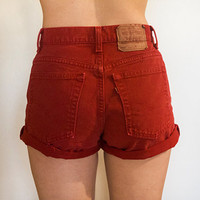 Red High Waisted Levi&#x27;s