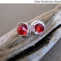 Ruby Red Crystal Wire Wrapped Stud Earrings - Sterling Silver Post Earrings - Summer Jewelry