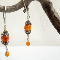 Glowing Golden Amber and Bali Silver Earrings by seemomster