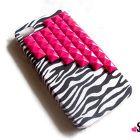 Hot Pink Brass Studded iPhone 4 4S Zebra Rubberized by StudMafia