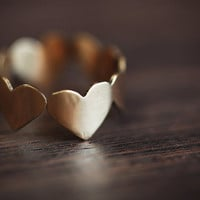 Brass Band of Hearts Ring by Anilani on Etsy