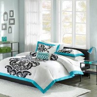 Amazon.com: Florentine Teal Modern Comforter Set Size: Full/Queen: Home &amp; Kitchen