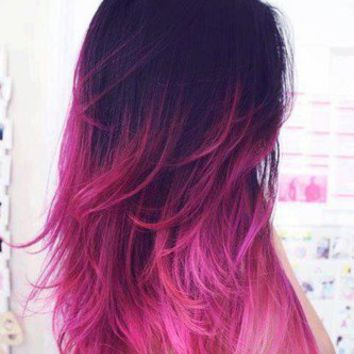 ombre hair dip dye hair dark brown pink from ombrehair on