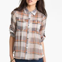 Elodie Plaid Chiffon Shirt (Juniors) | Nordstrom