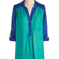 Pam Breeze-ly Top in Turquoise | Mod Retro Vintage Long Sleeve Shirts | ModCloth.com