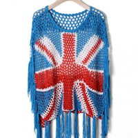 Union Jack Fringe Crochet Top$44