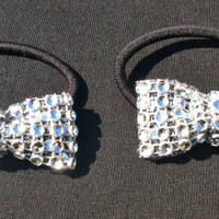 Set of 2 silver Bow Rhinestone Pigtail Ponytail Holders Cheer Dance