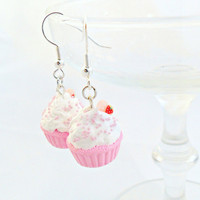 Kawaii Pink Cupcake Earrings  by aLilBitOfCute on Etsy