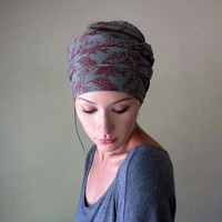 My Victorian Heart Head Scarf - All In One Headband, Turban, Hair Wrap - Womens Neck Bow - Scarf