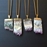 Amethyst Druzy Crystal Necklace, Purple Amethyst Slice Pendant Necklace, February Birthstone