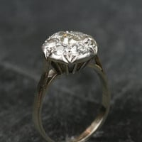 Platinum Set Diamond Cluster Engagement Ring by Ruby Gray's | Ruby Gray's Antique & Vintage Rings