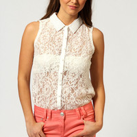 Preya Lace Sleeveless Shirt With Pearl Detail