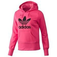 Amazon.com: Adidas Women&#x27;s Originals Trefoil Flock Fleece Hoodie Hoody-Pink/black-Small: Clothing