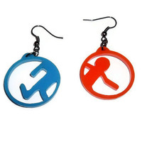 Portal Earrings, Laser Cut Gaming Jewelry